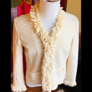Cream Cardigan Sweater Jacket Boiled Wool Talbots